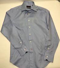 Takumi Japan Flip Cuff Dress Shirt Cotton Blend Blue Herringbone Mens S Small