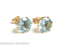9ct Gold Blue Topaz Stud earrings Gift Boxed Made in UK