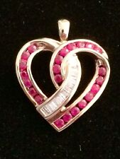 10K Yellow & White Gold Baguette Diamond & Round Natural Ruby Heart Pendant NEW