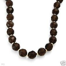 EXQUISITE SOLID 14K YELLOW GOLD GENUINE SMOKY TOPAZ NECKLACE