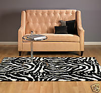 Abstract Contemporary Faux Fur Zebra Rug 5x7