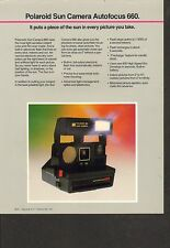 VINTAGE AD SHEET #1744 - POLAROID AUTOFOCUS 660  CAMERA