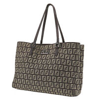 FENDI Zucca Pattern Tote Hand Bag Brown Beige Canvas Vintage Authentic #SS954 O