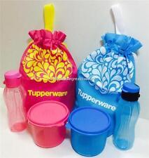 NEW TUPPERWARE PINK BLUE MINI FLIP TOP ECO  BOTTLE 310ml FLASCHE SNACK N ALL SET