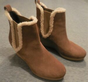 Talbots 8 M Tan Suede Wedge Ankle Boots Boots Faux Shearling Slip On