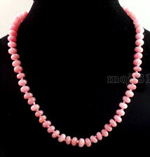 Handmade 5x8mm Natural Pink Rhodochrosite Gemstone Beads Necklace 18'' AAA