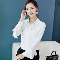 Top Summer Long Sleeve Loose Chiffon Blouse Fashion Shirt T-Shirt Ladies Women