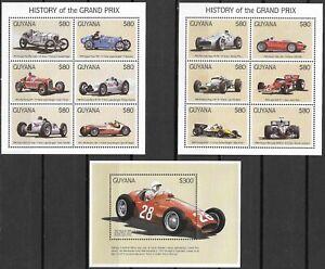 "GUYANA - 1998 MNH ""AUTOMOBILES - Vintage Racing CARS"" Three Souvenir Sheets !!!"
