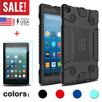 For Amazon Kindle Fire 7/HD 8 2017 Soft Armor Tablet Case Cover Screen Protector