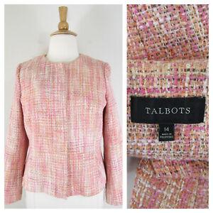 Talbots Plus Size Pink Orange Cream Tweed Zip Blazer Jacket 14 Formal Career