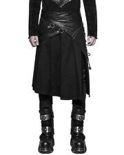 Punk Rave Mens Dieselpunk Utility Kilt Black Gothic Steampunk Faux Leather LARP