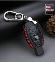 For Benz 3 buttons Genuine leather key case holder cover remote fob Red stitche