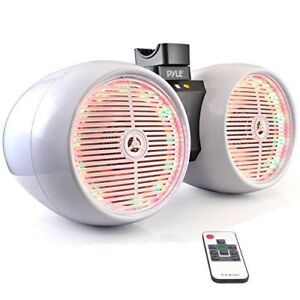 Pyle PLMRWB652LEW Marine Tower Wakeboard 6.5'' LED Speakers, Waterproof, White