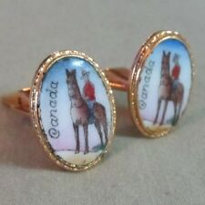 Mens Vintage HAND PAINTED CANADIAN MOUNTY CUFFLINKS Costume Jewelry D83