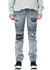 Hudson Blinder Biker Skinny Distressed Jeans Minor Threat Skull Size 34 $325