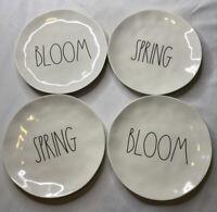 "Rae Dunn NWT SPRING BLOOM Long Letters Melamine 8"" Set of 4 Plates Ivory Picnic"