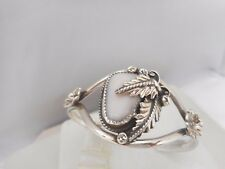 Grace Smith, Navajo Sterling Silver Mother Of Pearl Flower Cuff Bracelet