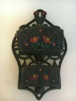 Vintage Wilton Cast Iron Double Pocket Hand Painted Wall Mount Match Holder