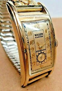 ART DECO 1937 Gruen Curvex~Cal.330 Swiss 17J.~RF#280~46MM Long 10KGF TANK Watch