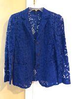 New without tag ESCADA crochet jacket/blazer royal blue size 34