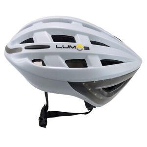 Lumos Kickstart Smart Bike Helmet Polar White Front and Rear LED Lights 54-62cm