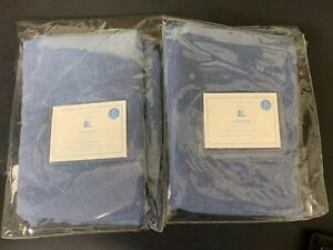 "Lot of 2 Pottery Barn Kids HAYDEN BLACKOUT PANEL Navy 44"" x 63"""