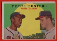 1959 Topps #212 Hank Aaron VG-VGEX+ MARKED Eddie Mathews Milwaukee Braves HOF
