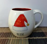 "Rae Dunn ""BELIEVE"" Mug with Santa Hat & Red Interior Large Letters New"
