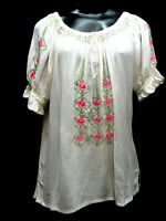 Peasant Blouse White all rayon with embroidery great for ren-faire SIze S - XL