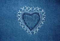 Abstract Denim Love Heart Shabby Chic Canvas Picture Wall Art
