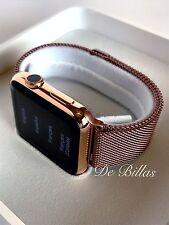 24K Rose Gold Plated 42MM Apple Watch GEN 1 Rose Milanese Loop