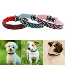 Braided PU Leather Pet Dog Collar Adjustable for Small Large Dogs French Bulldog