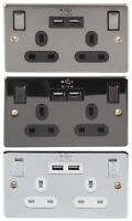 2 GANG Double Plug Socket with USB 2.1A Charger Ports HUB x2 Mains Electric DIY