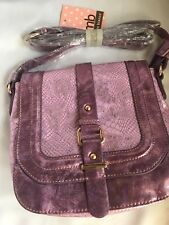Melie Bianco Jewel Metallic Pink/Lilac Saddle Purse - New