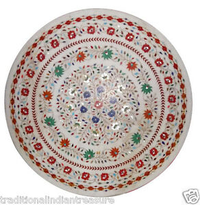 4'x4' White Dining Room Marble Top Tables Inlaid Mosaic Stone Christmas Decor