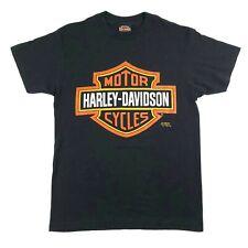 Harley Davidson 3D Emblem Mens M Logo T Shirt Black Larrys Custom Cycles Vintage