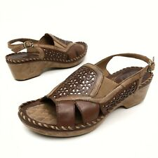 @@ Ariat Del Ray Women's Brown Leather Floral Design Sandals Sz 10 B Eu41.5 EUC
