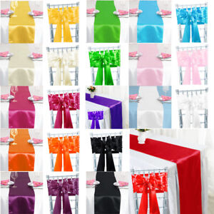 1 10 50 100 Satin Table Runners Satin Chair Sashes Cover Swags Christmas Decor