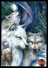 Christmas Wolves Feathers Howling Moon Mystical - Christmas Greeting Card New