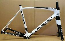 MEKK Poggio de carbono bicicleta de carretera disco solo marco, 53cm, Blanco/Negro. nuevo FR2