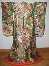 Green Silk Japanese Uchikake Wedding Kimono w/ Royal Carts & Floral
