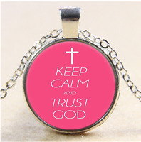keep calm and trust god Photo Cabochon Glass Tibet Silver Pendant Necklace