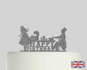 Alice in Wonderland Birthday Cake topper Acrylic Glitter cake Decoration 187