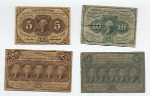 """4 circulated first issue fractionals 5-50 cent """"postage"""" issues [y6162]"""