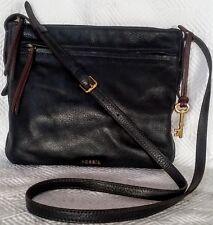 FOSSIL ZipTop VINTAGE MESSENGER Dark BROWN LEATHER Crossbody Shoulder Bag UNISEX
