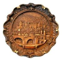 Vintage Hand Carved Wooden Heidelberg Wall Plaque Three Dimensional Decor