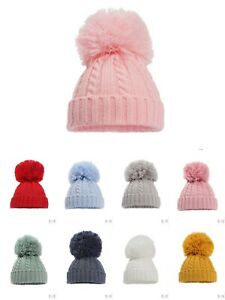 BABY KNITTED CABLE SINGLE POM POM BOBBLE BOY GIRL CAP HAT BONNET NB-12 Months