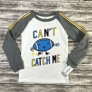 Carters Boys TShirt Size 5T Football Can't Catch Me Raglan Long Sleeve NEW NWT