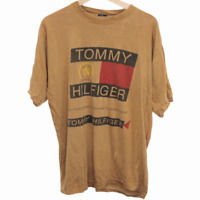 L73 Tommy Hilfiger Short Sleeve Brown Tee Shirt Spell Out Logo Men's Size XL