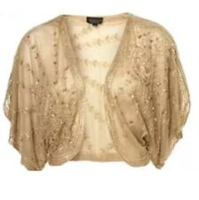 Grano de lentejuelas de oro antiguo Topshop 20s Aleta De Colección Cape Kimono Vestido Chaqueta 10 S